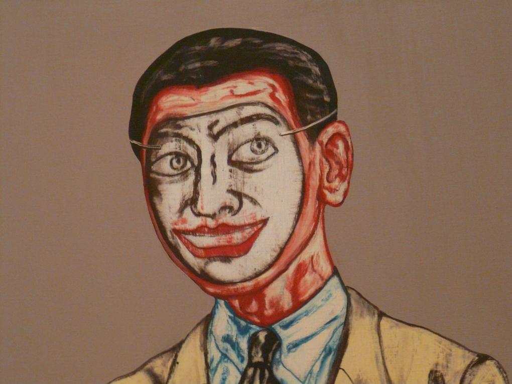 "Photo of Zeng Fanzhi's ""Mask Series No. 9,"" SFMOMA (1994)."